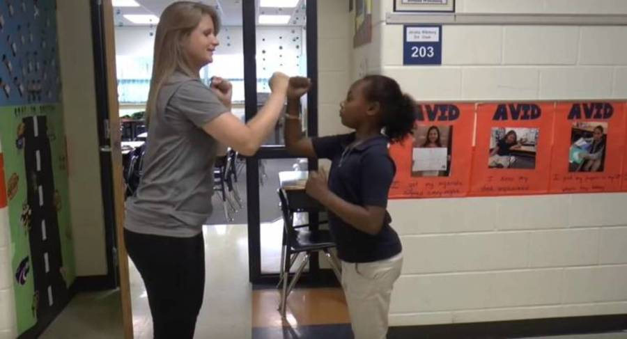 teacher handshake